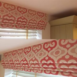 two pic of roman blinds for bedroom window with beatiful color